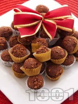 Какаови бонбони от бисквити и орехи - снимка на рецептата